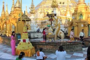 Rangoun - Pièce montée de fleurs
