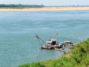 Kratie - Carrelet chinois sur le Mékong